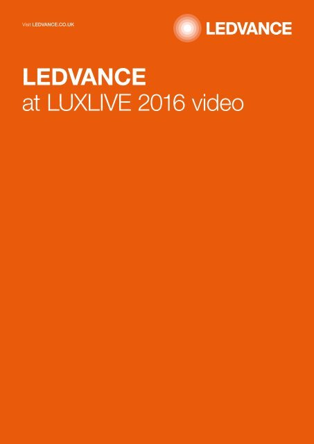 Ledvance at LUXLIVE video