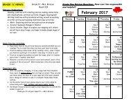 February 2016 Calendar and Curriculum