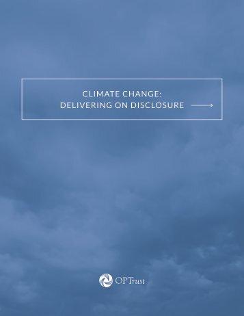 CLIMATE CHANGE DELIVERING ON DISCLOSURE