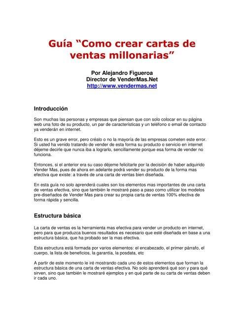Pd Documentos Guia Como Crear Cartas De Ventas Millonarias