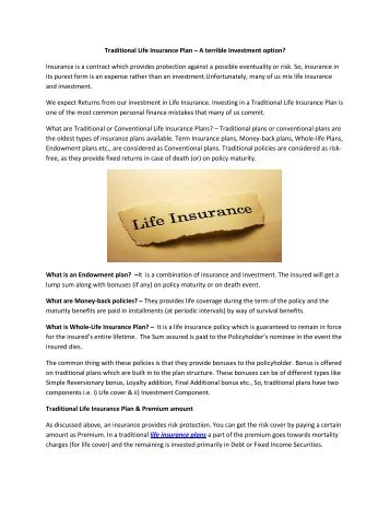 Traditional Life Insurance Plan – A terrible Investment option