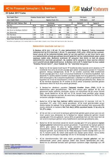 4Ç16 Finansal Sonuçları| İş Bankası
