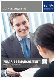 GGS-Broschüre M.Sc. in Management – Vertriebsmanagement