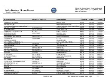 Active Business License Report - City of Huntington Beach