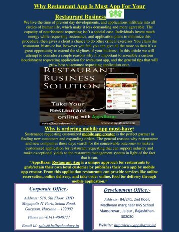 Why Restaurant App Is Must App For Your Restaurant Business