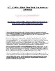 ACC 410 Week 5 Final Paper Audit Plan Keystone Computers