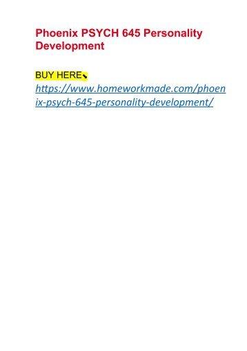 Phoenix PSYCH 645 Personality Development