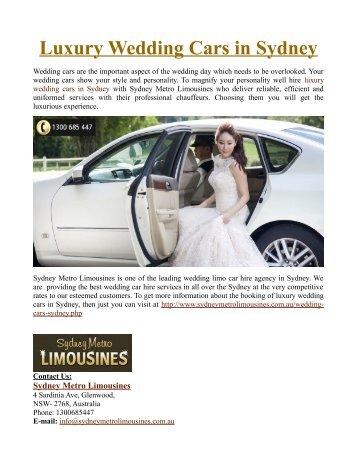 Luxury Wedding Cars in Sydney