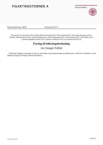 Forslag til folketingsbeslutning om Amager Fælled