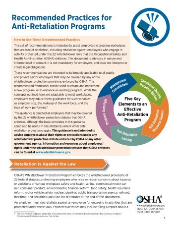 Recommended Practices for Anti-Retaliation Programs