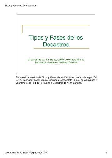 1.- Tipos y Fases de Desastres