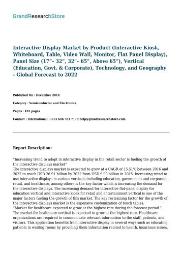 Interactive Display Market by Product Technology, and Geography - Global Forecast to 2022