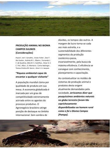 PRODUÇÃO ANIMAL NO BIOMA CAMPOS SULINOS