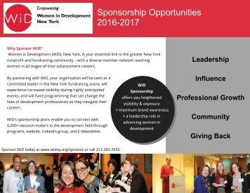 Sponsorship Opportunities 2016-2017