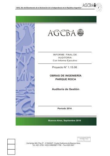 Proyecto N° 1.15.06 OBRAS DE INGENIERÍA PARQUE ROCA Auditoría de Gestión