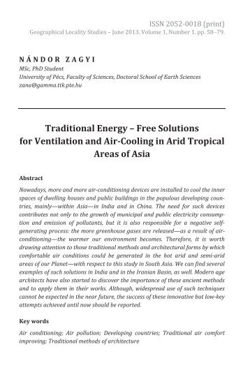 Nándor Zagyi: Traditional Energy – Free Solutions for Ventilation and Air-Cooling in Arid Tropical Areas of Asia