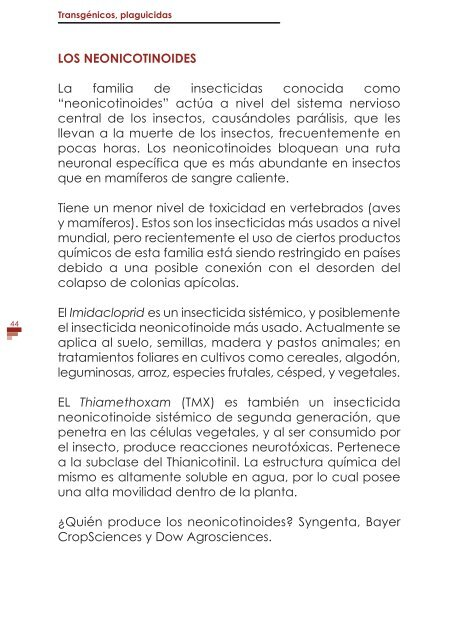 TRANSGÉNICOS PLAGUICIDAS
