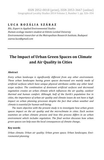 Luca Rozália Száraz: The Impact of Urban Green Spaces on Climate and Air Quality in Cities