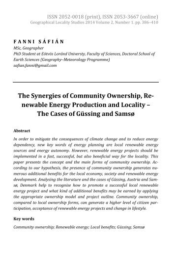 Fanni Sáfián: The Synergies of Community Ownership, Renewable Energy Production and Locality – The Cases of Güssing and Samsø
