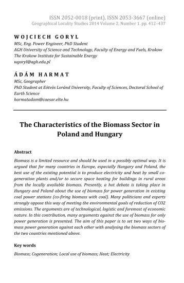 Wojciech Goryl & Ádám Harmat: The Characteristics of the Biomass Sector in Poland and Hungary