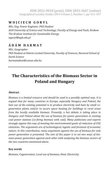 Wojciech Goryl & Ádám Harmat: The Characteristics of the Biomass Sector in Poland and Hun­gary