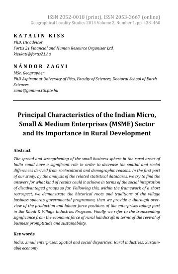 Katalin Kiss & Nándor Zagyi: Principal Characteristics of the Indian Micro, Small and Me­dium Enterprises (MSME) Sector and its Importance in Rural Development