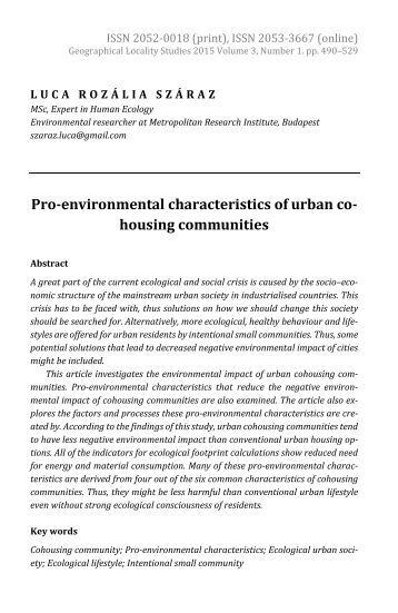 Luca Rozália Száraz: Pro-environmental Characteristics of Urban Cohousing Communities