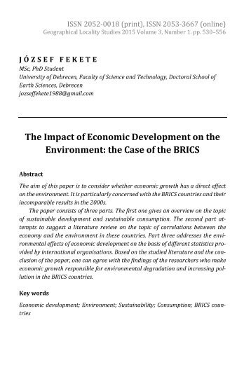 József Fekete: The Impact of Economic Development on the Environment: the Case of the BRICS
