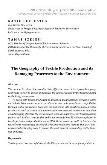 Katie Eccleston & Tamás Szelesi: The Geography of Textile Production and its Damaging Processes to the Environment