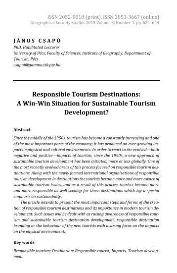 János Csapó: Responsible Tourism Destinations: A Win-Win Situation for Sustainable Tourism Development?