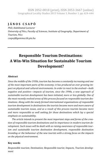 János Csapó: Responsible Tourism Destinations: A Win-Win Situation for Sustainable Tourism Development?