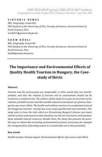Viktória Nemes & Ádám Köbli: The Importance and Environmental Effects of Quality Health Tourism in Hungary, the Case-study of Hévíz