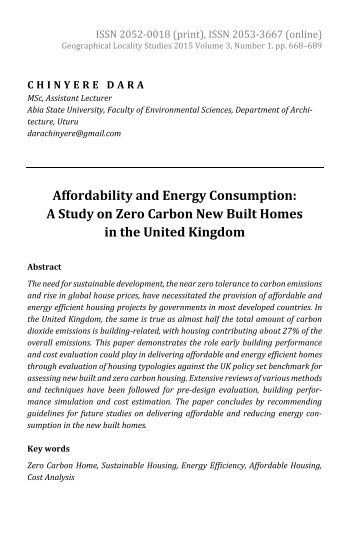 Chinyere Dara: Affordability and Energy Consumption: A Study on Zero Carbon New Built Homes in the United Kingdom