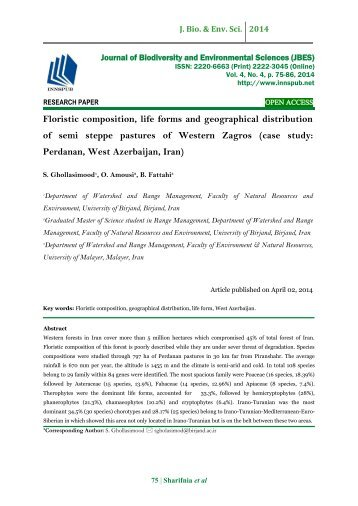 Floristic composition, life forms and geographical distribution of semi steppe pastures of Western Zagros (case study: Perdanan, West Azerbaijan, Iran)