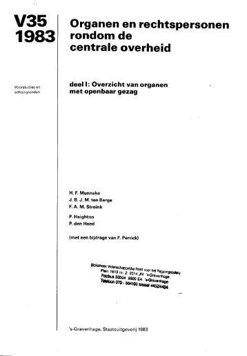 Voorstudie 35: Organen en rechtspersonen rondom de centrale