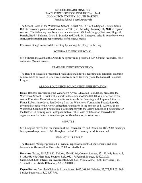 BOARD MINUTES WATERTOWN DISTRICT NO ... on