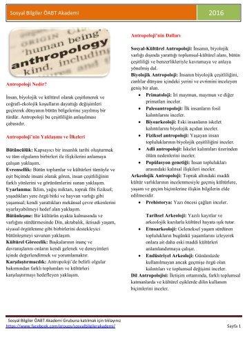 (YENİ) Antropoloji - Sosyal Bilgiler ÖABT Akademi