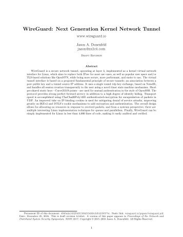 WireGuard Next Generation Kernel Network Tunnel
