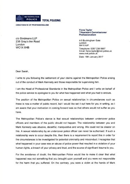 Letter from AC Taylor to Bindmans LLP 19JAN17