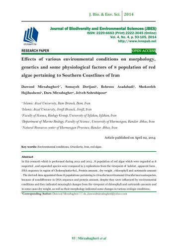 Effects of various environmental conditions on morphology, genetics and some physiological factors of 8 population of red algae pertaining to Southern Coastlines of Iran