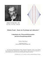 Wilhelm Wundt – Pionier der Psychologie und ... - Jochen Fahrenberg