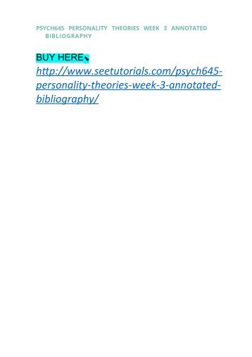 BSHS     WEEK   ASSIGNMENT ANNOTATED BIBLIOGRAPHY    SETS  Uoptutorial