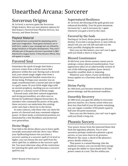 Unearthed Arcana Sorcerer