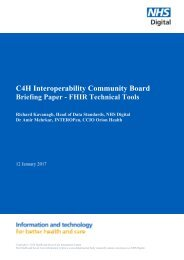 C4H Interoperability Community Board Briefing Paper - FHIR Technical Tools