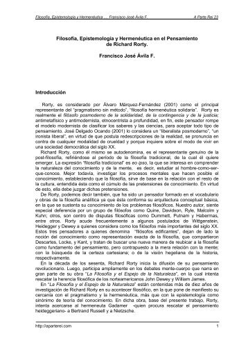 lectura 1 preambulo filosofia epistemologia, hermeneutica
