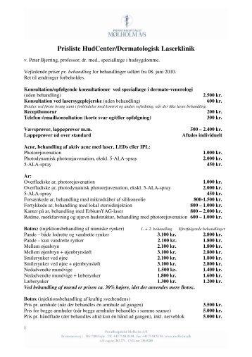 Prisliste HudCenter/Dermatologisk Laserklinik
