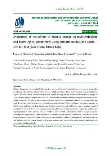 Evaluation of the effects of climate change on meteorological and hydrological parameters using climatic models and Mann – Kendall test (case study: Urmia Lake)