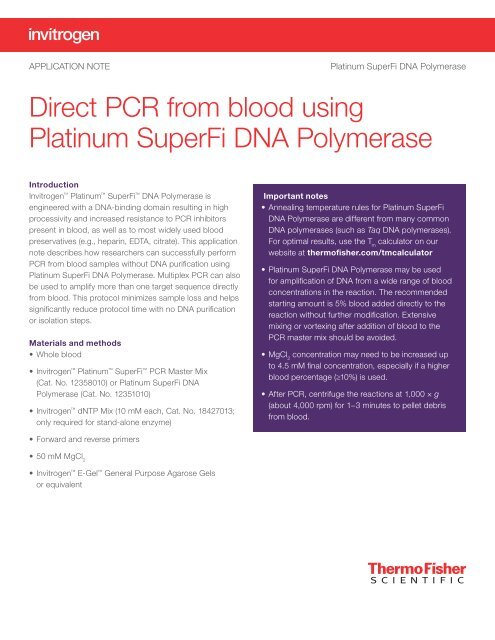 Direct PCR from blood using Platinum SuperFi DNA Polymerase
