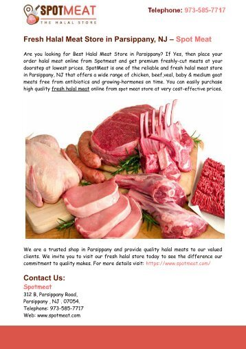 Fresh Halal Meat Store in Parsippany – Spot Meat