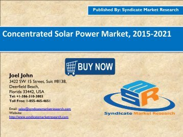 Concentrated Solar Power Market, 2015-2021